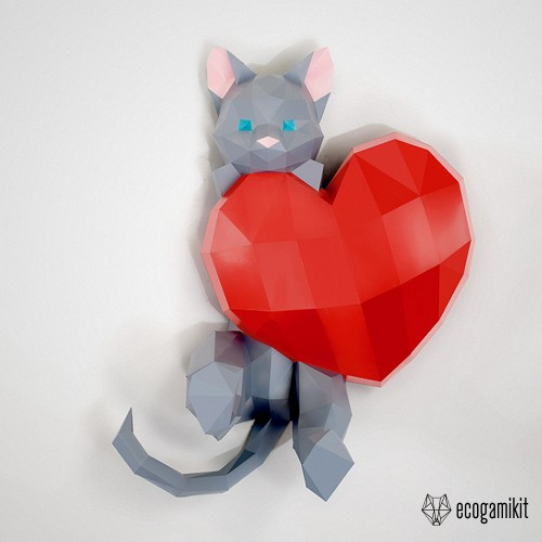 Papercraft Cat in love